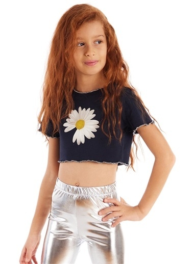 Colorinas Trim Crop Tshirt Lacivert Beyaz